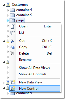 Adding a new control to the 'page' container.
