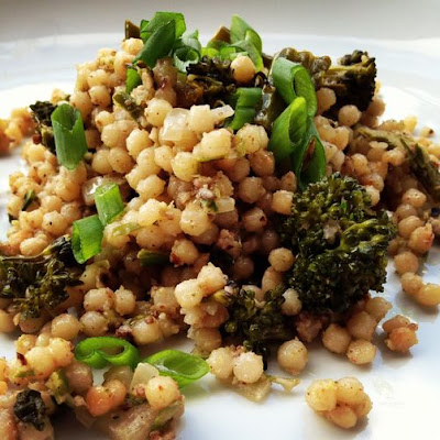 Creamy Spring Couscous with Garlic Scape Pesto & Broccoli