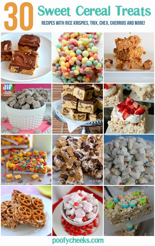30 Easy Sweet Cereal Treats - recipes with rice krispies, trix, chex, cheerios and more!