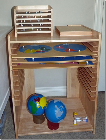 Homeschool Room - Montessori Map Cabinet and Geography and Science Materials