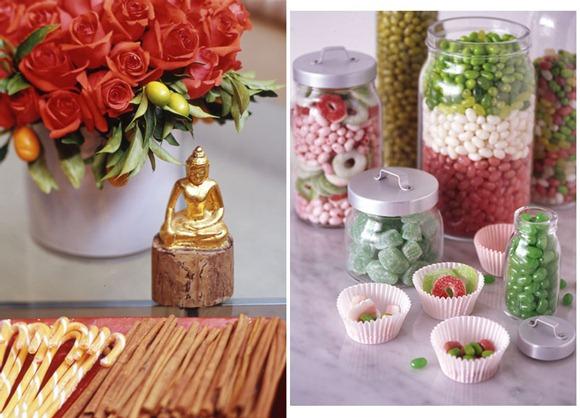 Decoración navideña con flores y dulces