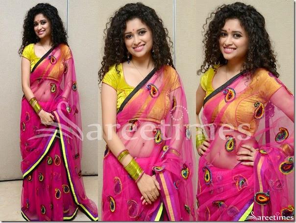 Soumya_Sukumar_Pink_Net_Saree