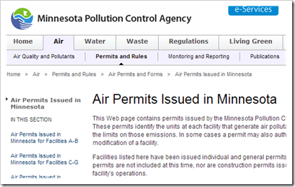 Minnesota Pollution Control Agency Issued Air Permits