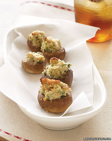 Goat Cheese Stuffed Mushrooms. (marthastewart.com)
