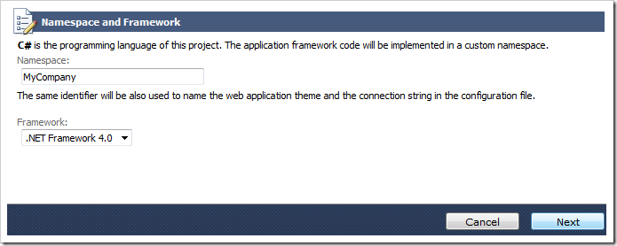 Namespace and Framework page of Code On Time project wizard.
