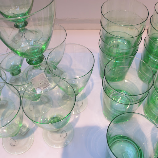 Just a hint of minty green makes these glasses delicate and airy.
