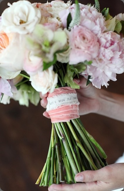 handle Lets Grow old together detail on bouquet JG Laura Murray Photography and cori cook