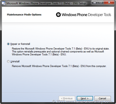 WP7.1 Mango SDK Beta 2 Installation Screen 4