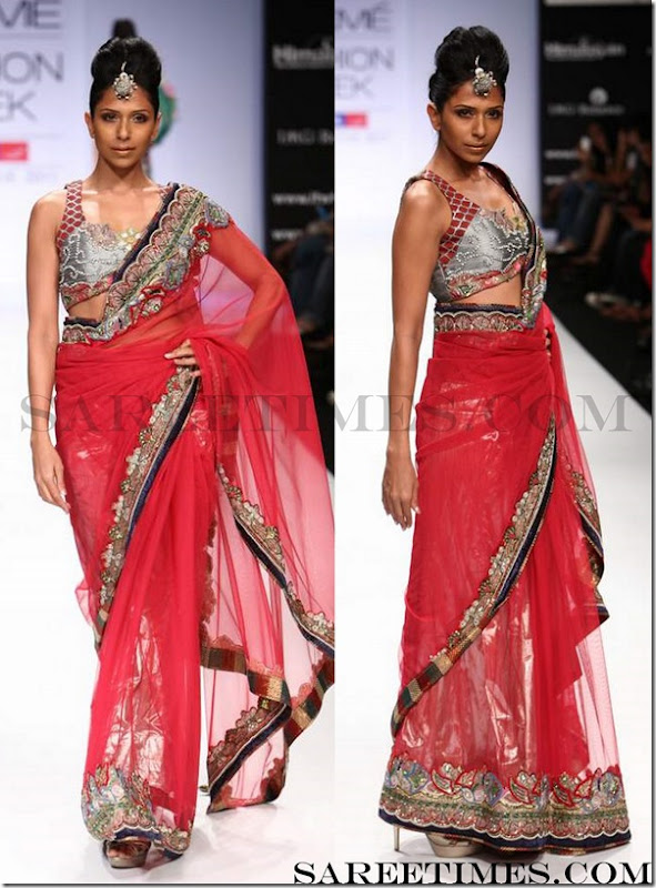 Parvesh_Jai_Red_Designer_Sari