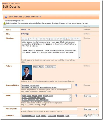 SharePoint, My Site and Managing User Profile Properties – Part 2/2 sharepoint 2007 sharepoint
