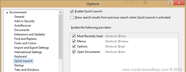 Visual Studio 2012 Quick Launch - Options in Option