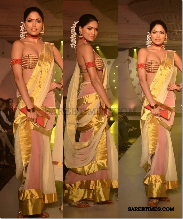 golden_saree_sndt_fashionshow