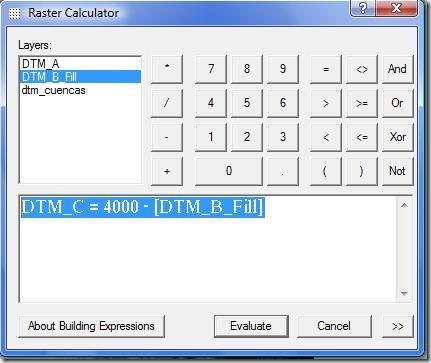 F7. Volteando el DTM con la calculadora raster