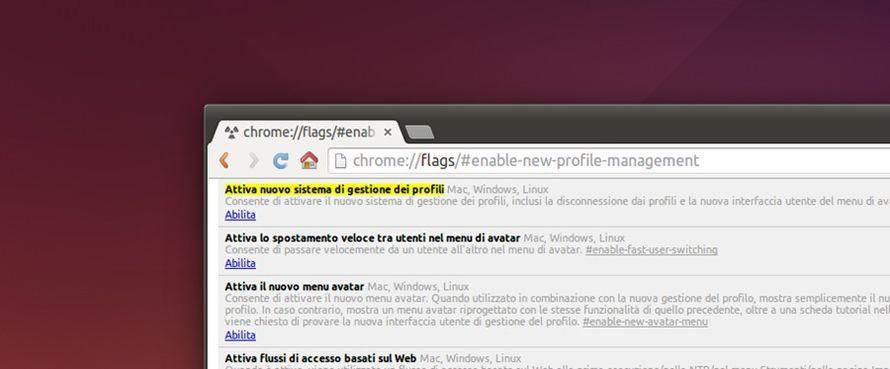 Chrome attivare nuovo gestore dei profili