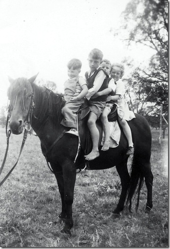 Kids on horse