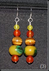 Carnelian, Marble Agate, Tiger Eye, Jade Sterling Silver Earrings