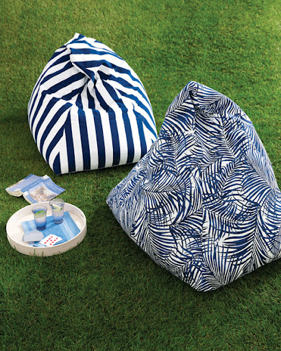 Get cozy in the backyard with this DIY striped beanbag chair.  (marthastewart.com/269842/beanbag-makeover)