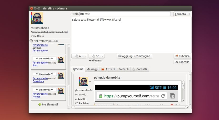 Dianara in Ubuntu