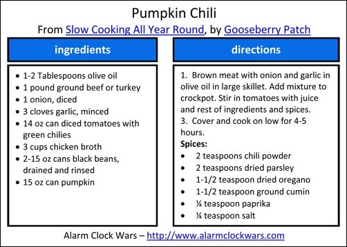 crockpot pumpkin chili recipe card