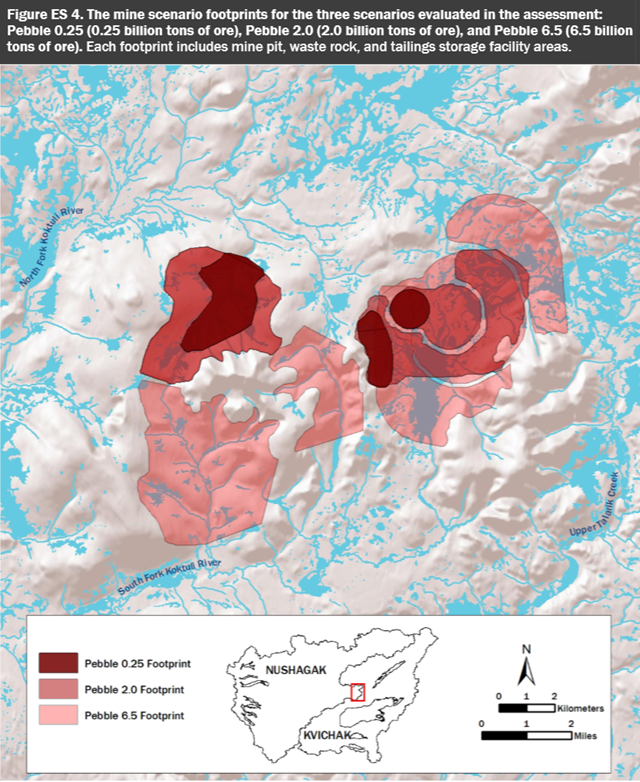 Estimated footprints for the proposed Pebble Mine in Alaska. The mine scenario footprints are for the three scenarios evaluated in the assessment: Pebble 0.25 (0.25 billion tons of ore), Pebble 2.0 (2.0 billion tons of ore), and Pebble 6.5 (6.5 billion tons of ore). Each footprint includes mine pit, waste rock, and tailings storage facility areas. The mine threatens the viability of half of the world's wild sockeye salmon. Graphic: EPA