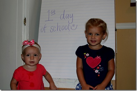 first week of school - cori and finley