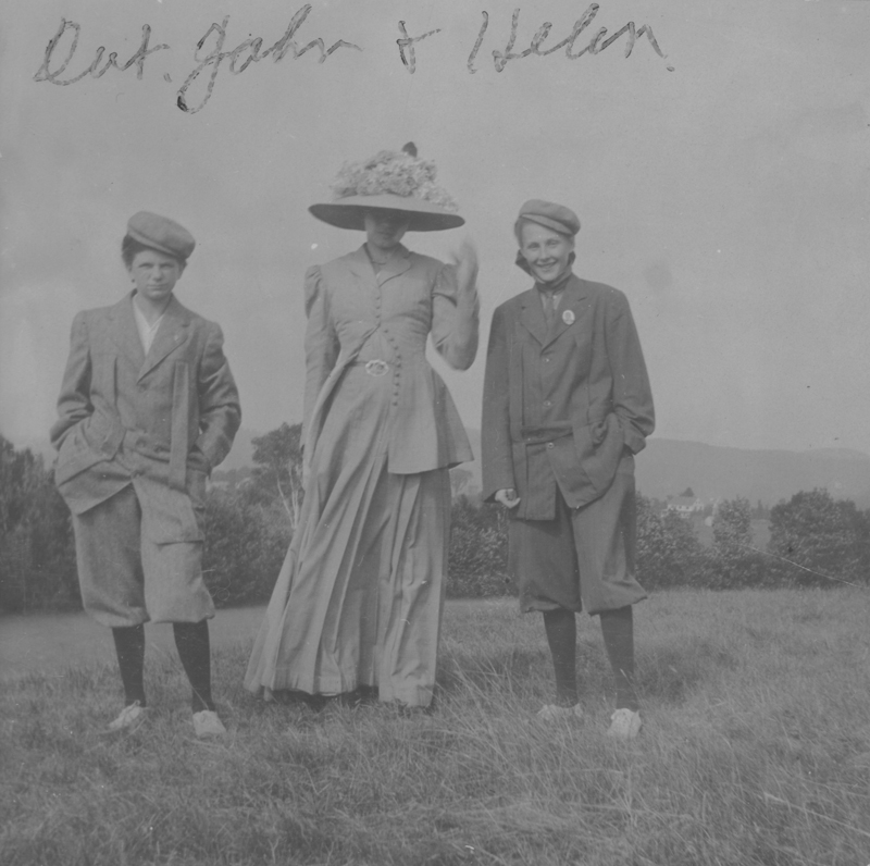 Siblings Dot (Dorothy), John, and Helen Putnam playing with crossdressing. Undated.