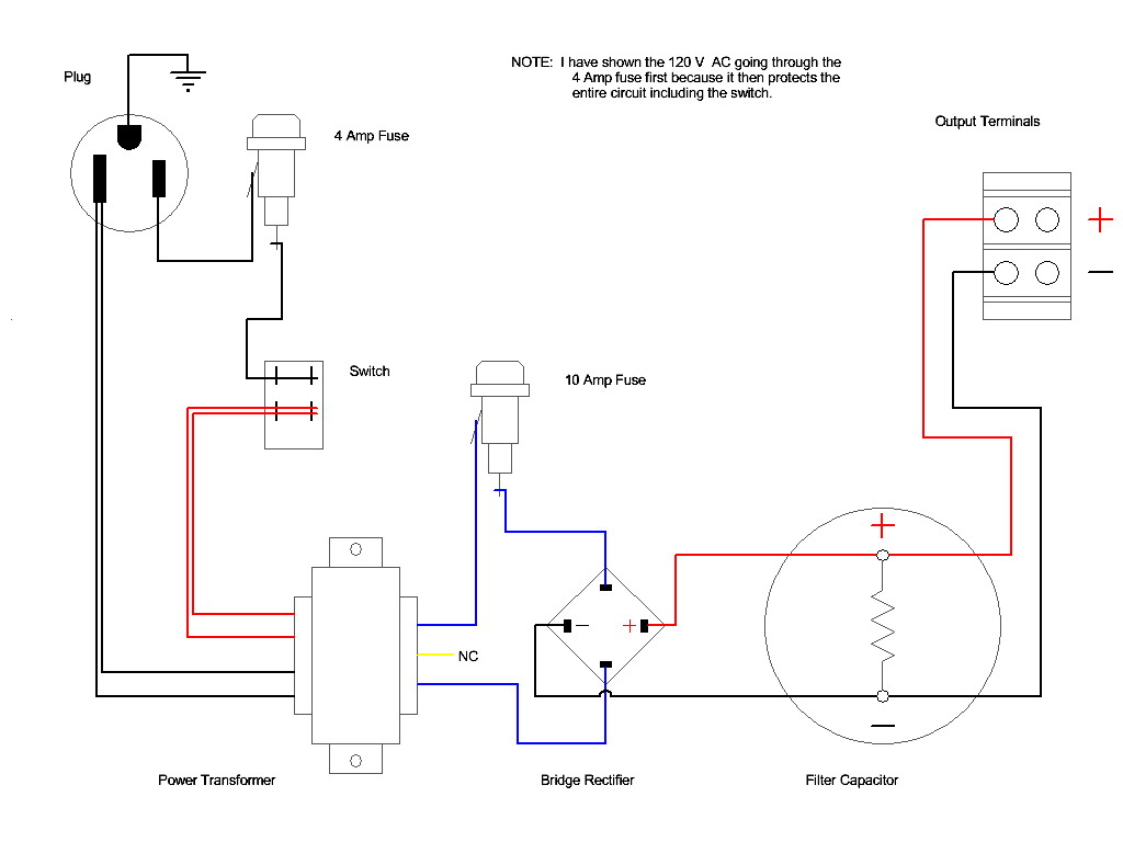 Wiring diagram for a transformer
