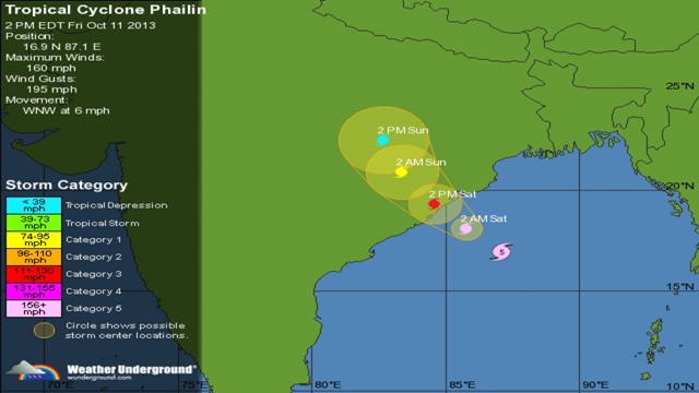Projected storm track of Typhoon Phailin as it moves into India, 11 October 2013. Graphic: Weather Underground