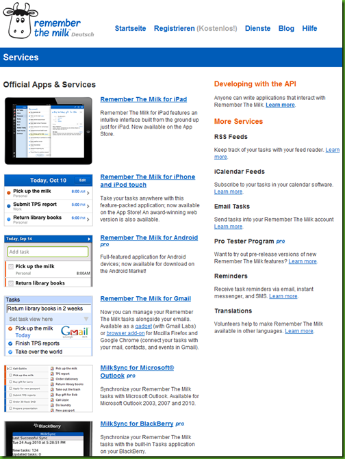rememberthemilk overview of services for todo and task manager