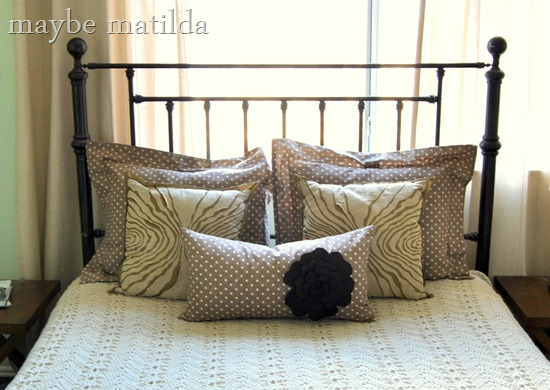 Crochet blanket and DIY pillow shams