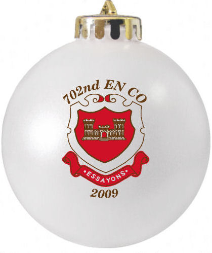 Custom Military Christmas Ornament 702nd EN CO ESSAYONS designed at http://www.fundraisingornaments.com