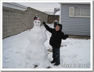 Bryce's first snowman