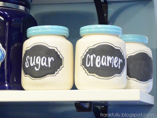 jars from Anthropologie written in chalk pen