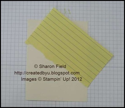 tear post it note along adhesive edge and affix to vv card stock