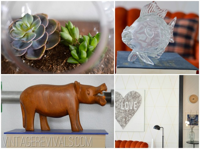 Wooden Hippo Succulent Collage