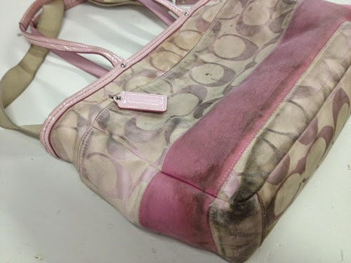 Pink Coach purse before cleaning2