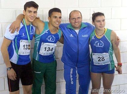Jose Miguel Millan Campeon de Andalucía Juvenil junto a Elena Centella, Alejandro Trinidad y su entrenador Felix Angulo