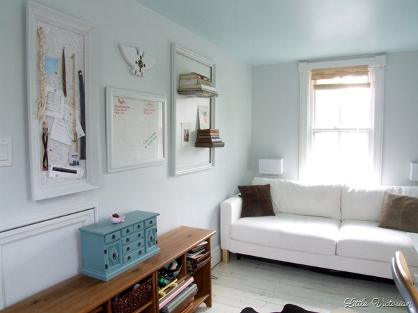 Invisible bookshelves on office wall | Little Victorian