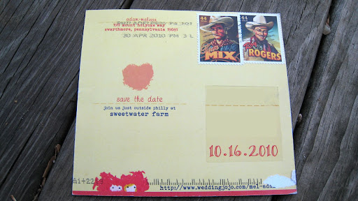 How cool is the back of this save-the-date postcard? It has Roy Rogers stamps!