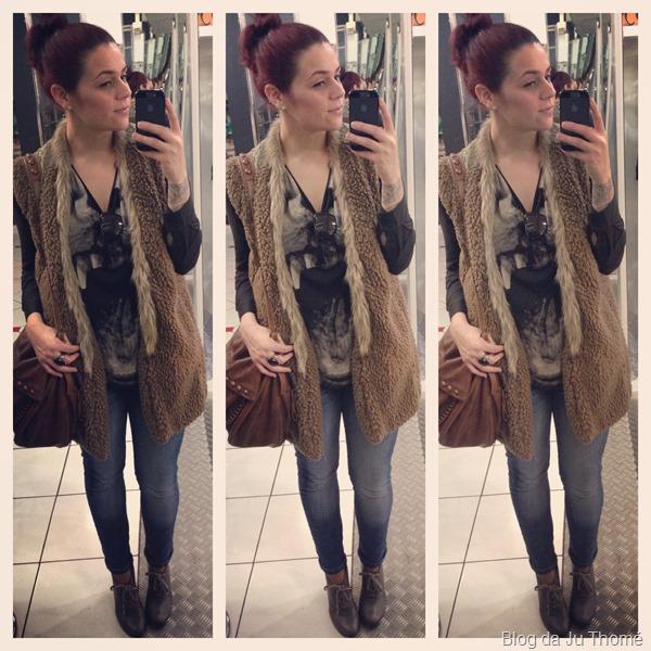 look jeans, camiseta e maxi colete (1)