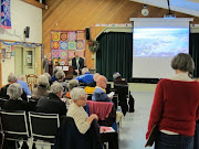 Councillor Shellie Gudgeon and Ben hear from the community at a public forum on Victoria's harbour-front lands