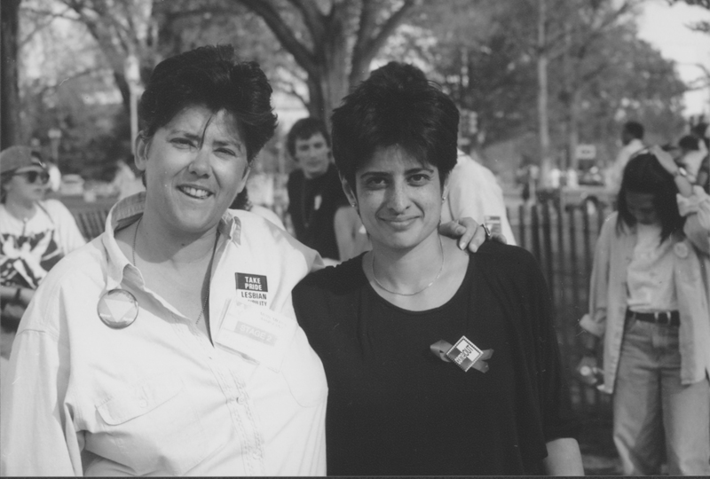 Jeanne Cordova (left) and Urvashi Vaid at the March on Washington. 1993.