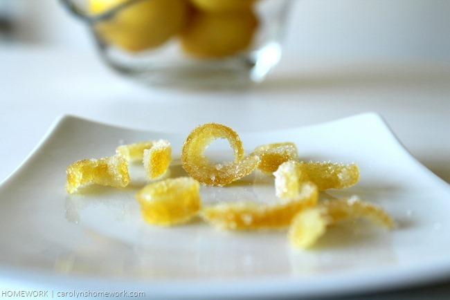 Candied Lemon peel via homework | carolynshomework.com