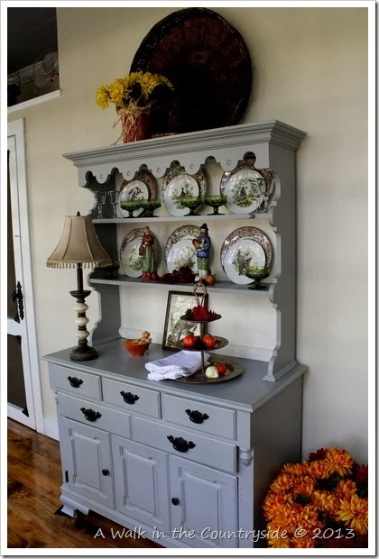 china hutch decorated for Fall