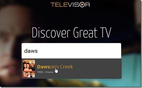 Televisor.com digitare titolo serie TV per trovare quelle simili