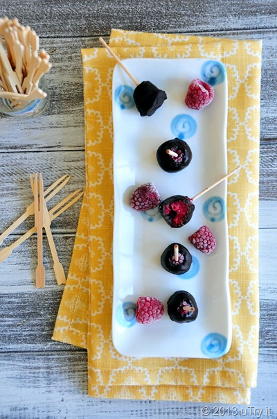 Chocolate Dipped Frozen Fruit Bites