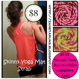 Yoga mat strap sweat pink laces