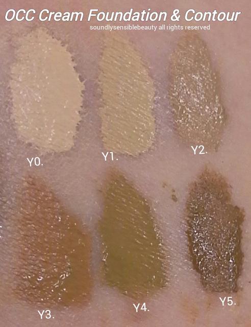 OCC Color Cream Concentrate Foundation;  Swatches of Shades Y0, Y1, Y2, Y3, Y4. Y5