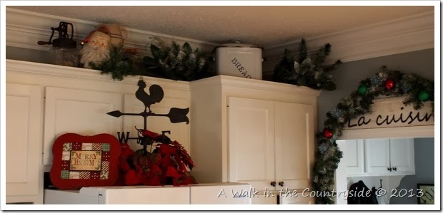 christmas above the kitchen cabinets and refrigerator
