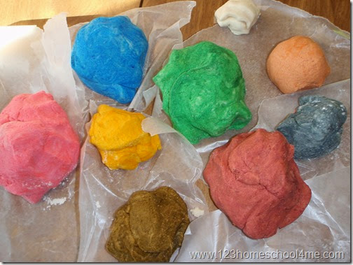 balls of colored ornament dough
